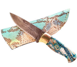 Handmade Knife 3 - Damascus Blade/Mammoth Tooth Handle